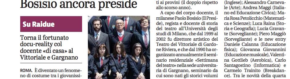 """Riparte """"Il Collegio"""": Bosisio ancora Preside"""
